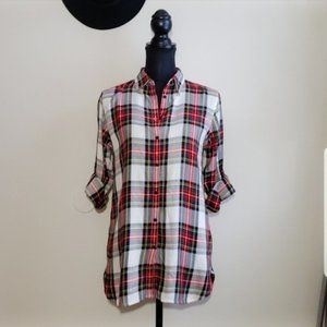NEW * RALPH LAUREN Top Button Up Plaid Red Small